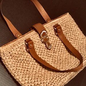 Michael Kors Leather and Raffia Bag